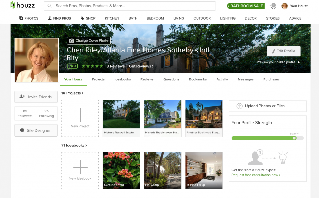 Screenshot of Project Boards on Houzz